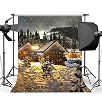 gladbuy 5 x 7ft写真バックドロップビニールMerry Christmas Snow Covered Landscape Rural Wooden House Falling Snowflakes Xmas Backdrops for Baby Kids Adult Happy New Year背景フォトスタジオ小道具