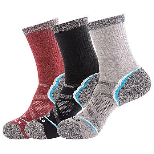 3足セット 靴下 メンズ メリノウール パイル ハイクルーソックス 24.5-27cm