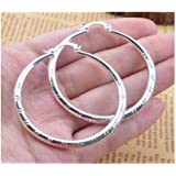 Saengthong Women Fashion 925 Sterling Solid Silver Ear Stud Hoop Earrings Wedding Jewelry