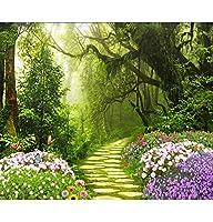 Wuyyii 美しい3Dの壁紙の新鮮な緑の元の森の枝の大きな木の風景フルハウスの背景の壁の壁紙D