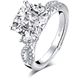 WOAINI Rhodium Plated Sterling Silver 925 Ring for Women 5.0 Carats Cushion Cut Cubic Zirconia CZ Twisted Infinity Anniversar