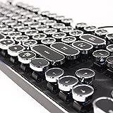 HKW タイプライター風メカニカルキーボード 青軸 104キー USB有線 日本語キーボード