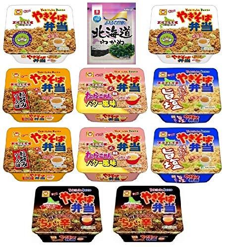 北海道のふえるわかめちゃん16g、マルちゃん やきそば弁当132g×2、たらこ味バター風味111g×2、旨塩115g×2、ちょい辛119g×2、お好みソース味120g×2