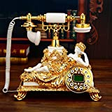Wjvnbah Landline telephone Living Room High-end Seat Machine European Antique Phone Retro Creative White Telephone