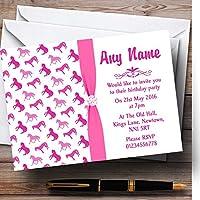 ピンクとホワイトHorses Personalized子供の誕生日パーティー招待状 20 Invitations