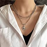 YERTTER Multi-Layered Coins Pendant Necklace Fashion Long Choker Necklace Silver Jewelry Chain Festival Statement Necklace fo