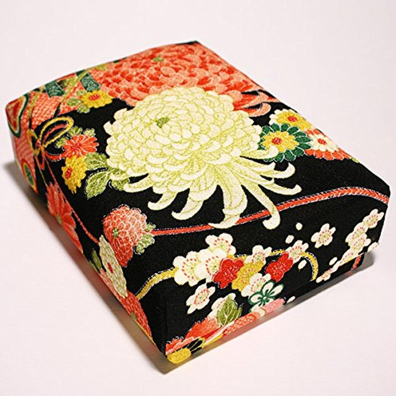 裁縫箱や救急箱に ちりめん文庫箱(大)黒