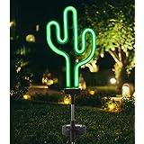 HAVEONE Solar Garden Stake Lights, Waterproof Solar Lawn Decor Neon Cactus Landscape Light for Pathway, Patio, Outdoor Living