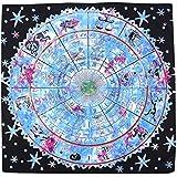 [ワズチヨ] タロットクロス 壁掛け布 タロットパターン タロット壁掛け壁画 ホロスコープ マット 100㎝×100㎝ 占い 太陽 クロス 大判 装飾 ラグ