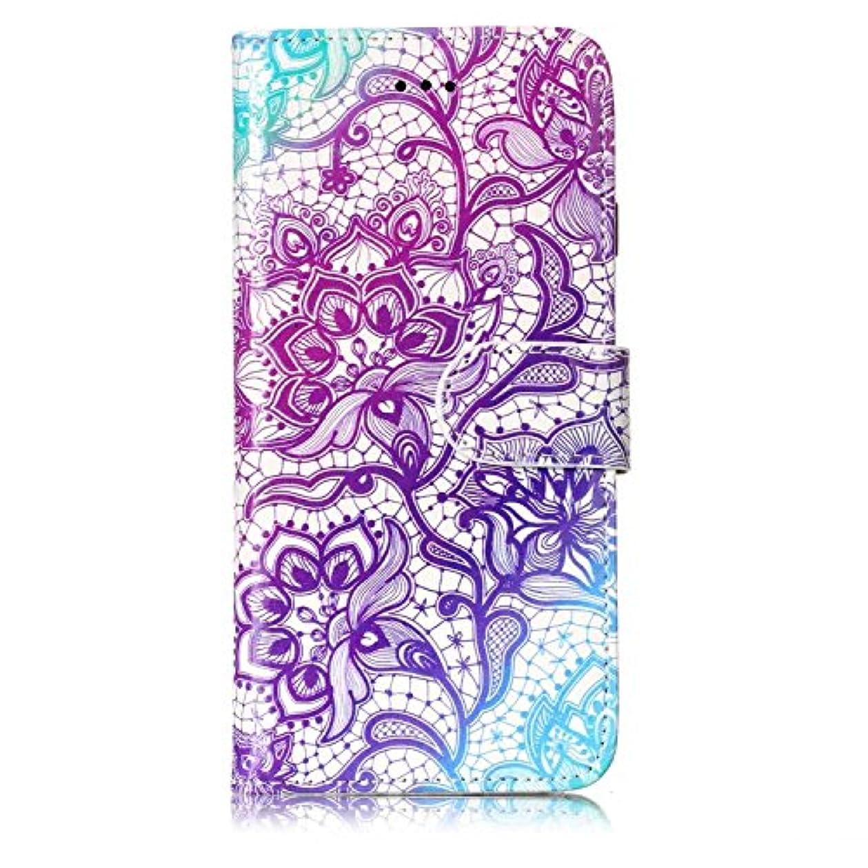 邪魔まあ石iPhone 6 / iPhone 6s ケース, OMATENTI 人気度 花柄 PU レザー 財布型 カバー ケース, カード収納 おしゃれ 高級感 手帳型ケース 衝撃吸収 落下防止 防塵 マグネット開閉式 プロテクター iPhone 6 / iPhone 6s 対応, 紫の