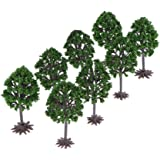 F Fityle 8pcs Scale OO 1:75 Plastic Model Tree Train Railroad Park Outdoor Layout
