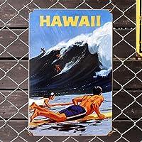 スティールサイン「HAWAII WAVE」 PTS-219 /ハワイアン/メタルサイン・看板/アメリカン雑貨/