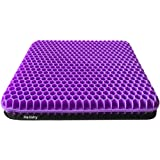 Gel Seat Cushion, Double Thick Gel Cushion for Long Sitting with Non-Slip Cover, Breathable Honeycomb Chair Pads Absorbs Pres
