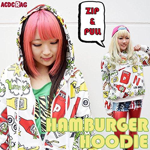 バーガーパーカー 原宿系 青文字系  ハンバーガー  かわいい   裏起毛 ユニセックス 個性的 ACDCRAG