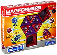 Magformers Classic 30-piece Magnetic Construction Set (レッド&パープル)