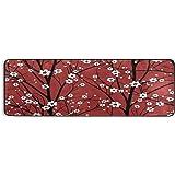 BEETTY Runner Rug Cherry Flower Blossom Non Slip Area Long Rug Hallway Entry Living Room Modern Carpet (2'x6')
