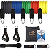 Fit Simplify Resistance Band Set 12 Pieces with Exercise Tube Bands, Door Anchor, Ankle Straps, Carry Bag and Instruction Boo