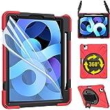 ZenRich iPad Air 4 10.9 2020 Case, zenrich iPad 10.9 inch Case with Screen Protector Stand Hand Strap Shoulder Belt Heavy Dut