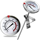 "8"" Mechanical Meat Thermometer Instant Read, Long Stem, Waterproof, No Battery Required, Stainless Steel Deep Fry Thermometer"