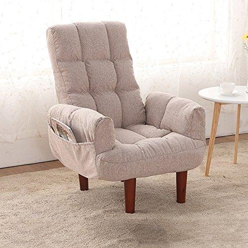 HAIZHEN リクライニングチェア 多機能折りたたみソリッドウッドラウンジソファーレジャーソファ折り畳み式怠惰な椅子 (色 : ベージュ, サイズ さいず : Chair)