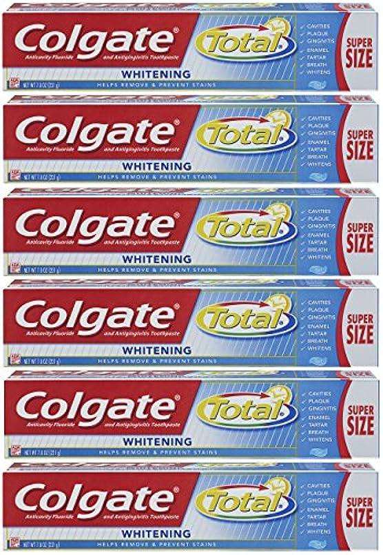 感嘆スイかかわらずColgate トータルホワイトニングジェル歯磨き - 7.8オンス(6パック)