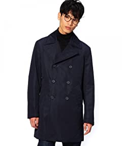 Cotton Polyester Double Breasted Coat 1125-133-5314: Navy