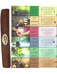 Set of 6 – Nutmeg、キュウリ、ラベンダー、ローズマリー、シナモン、レモングラスwith Govinda Incense Holder – By GolokaアロマセラピーシリーズとGovinda Burner
