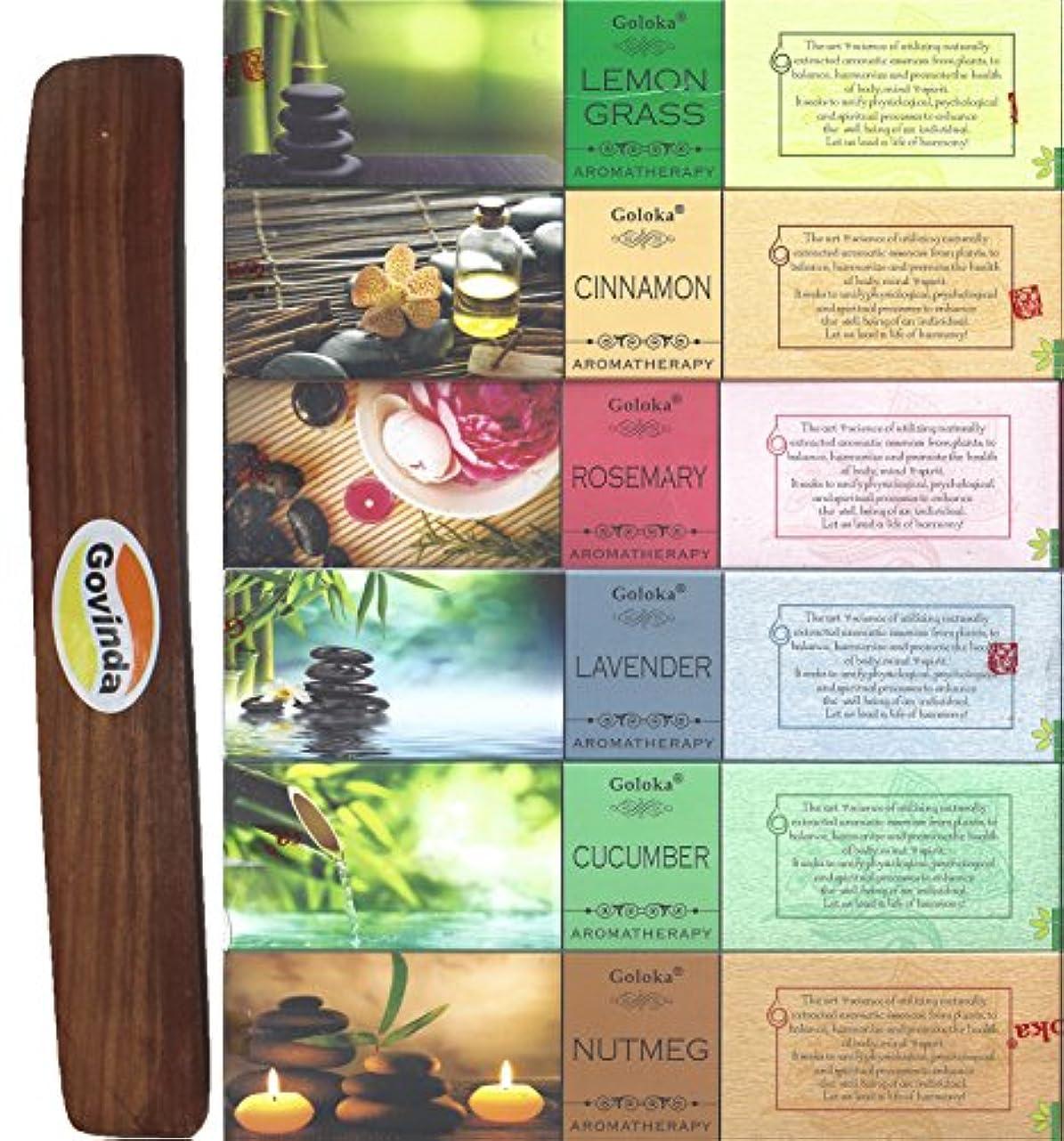 冒険家贅沢なまだSet of 6 – Nutmeg、キュウリ、ラベンダー、ローズマリー、シナモン、レモングラスwith Govinda Incense Holder – By GolokaアロマセラピーシリーズとGovinda Burner