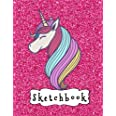 """Sketchbook: Cute Unicorn On Pink Glitter Effect Background, Large Blank Sketchbook For Girls, 110 Pages, 8.5"""" x 11"""", For Draw"""