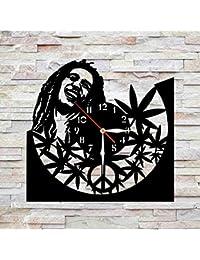 """お買い得品。プラスチックの切られます11,4"""" Bob Marley ボブ・マーリー掛け時計。非カチカチ音時計。クラシック黒。色々な部屋のため。"""
