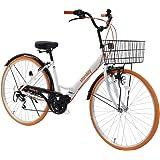 折りたたみシティサイクル 折りたたみ自転車 シマノ製6段変速 26インチ 前カゴ付き 自転車 ダイナモライト付き 後輪サークル錠 折畳機能付 シティサイクル