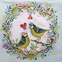 【Paper+Design】バラ売り2枚 ランチサイズ ペーパーナプキン BIRD WEDDING ブルー