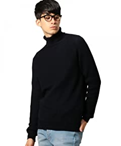 Wool Rib Turtleneck Sweater 1213-106-3182: Navy