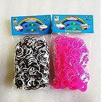 [Artasy ™][並行輸入品] DIY 2段カラーゴムセット バンドブレスレット (ホワイト x ブラック + 蛍光ピンク) Loom Bands refill Pack - (600 + 600 pcs) rubber ring Color: White x Black + Pink