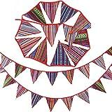 homewineasy ガーランドフラッグ テントフラッグ ボヘミアン 民族柄デコ フラッグ 三角旗 パーティー デコレーション エスニック柄 イベント 誕生日 結婚式 お祝い装飾 飾り