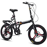 Compact Folding Mountain Bike, 6 Speed Hinge Folding Bicycle 20-Inch/Medium, Male and Female Adult Students with Variable Spe