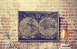 OYGROUP 古い世界地図 亜麻布にプリント 壁掛け インテリア 120cmx90cm