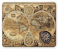 世界地図マウスパッド、国との古い海図大陸アトラスノスタルジックアンティークイメージ、標準サイズ長方形滑り止めラバーマウスパッド、サンドブラウンアンバー