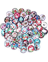 Soleebee 50pcs Mixed Random Glass Aluminum 18mm Snap Button Jewelry Charms DIY Accessories (Christmas Item)