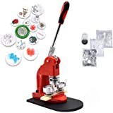 Red Button Maker Machine Button Badge Maker Pins Punch Press Machine Aluminum Frame 300pcs Free Button Parts + Circle Cutter,