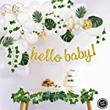 Sweet Baby Company Greenery Boho Baby Shower Decorations Neutral with Balloon Garland, Oh Baby Banner, Ivy Leaf Garland Vines