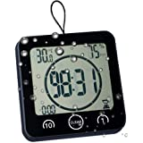 Digital Shower Clock with Timer Temperature Humidity Monitor Function, Waterproof Bathroom Clock for Water Spray, Special Mir