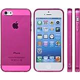 [ mtmdcolors ] TPU iphone 5 / 5 s ケース ストラップ ホール イヤフォン lightning ジャック 保護 キャップ 一体型 (キャップ付きつるつるタイプ ピンク)
