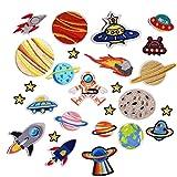 アップアップ(upup)DIY大人気うちゅう アイロンタイプ パッチワッペン惑星 星 宇宙大集合 大容量 26枚セット