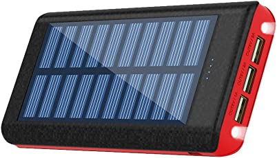 RuiPu モバイルバッテリー ソーラーチャージ 24000mah超大容量 急速充電器 QuickCharge iPhone / Android 電源充電可 3USB出力ポート 二個LEDランプ搭載 太陽光で充電でき ACアダプター付属(Red)