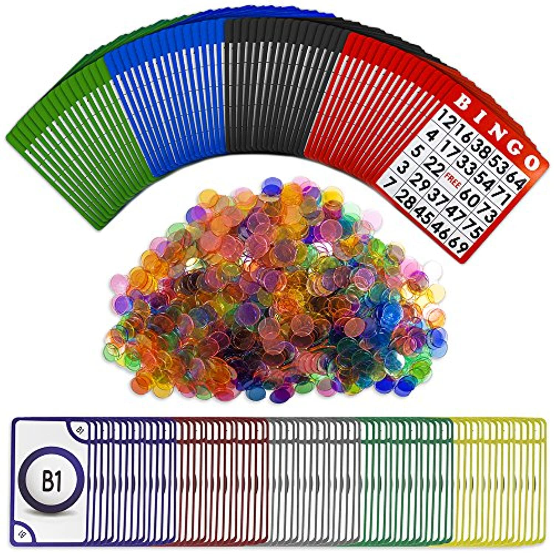 ビンゴ ロイヤル セット:ロイヤルビンゴサプライのチップ1,000枚、カード100枚、callingカードのジャンボセット