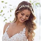 SWEETV Bohemian Headpiece Crystal Pearl Bridal Hair Vine Flower Halo Wedding Headband Tiara 10.25 Inch Gold