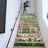 Yanqiao 動物 鹿など階段用のステッカー 立体的で光煌かす壁紙 カッコイイ欧米スタイル 高品質 おしゃれ 特別 防水または防潮 18*100cm