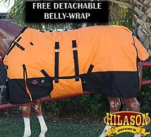 Hilason 1200d冬防水Poly Horse Blanketベリーラップオレンジブラック オレンジ