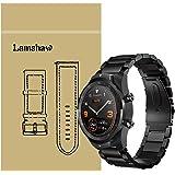 Lamshaw Ticwatch Pro バンド, ステンレス メタル ベルト 交換バンド 対応 Ticwatch Pro スマートウォッチ 腕時計 (ブラック)